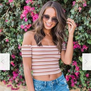 Pink Lily Striped Crop Top